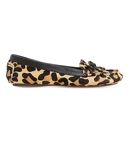 DUNE Genovia leather loafer flats (Leopard-pony