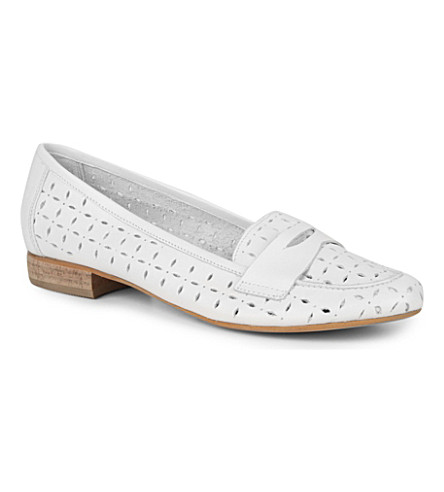 DUNE Lollipop cut-out loafers (White-leather