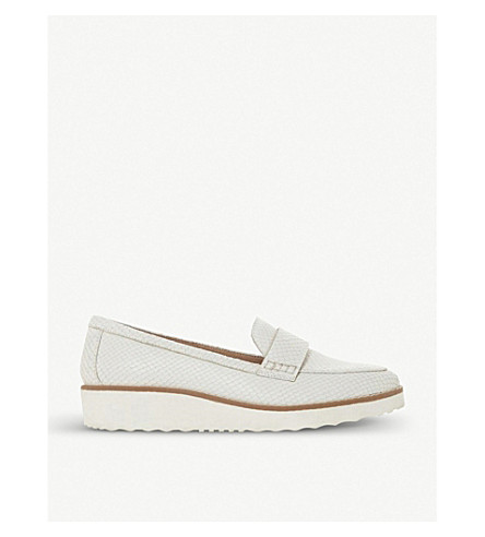 DUNE Gessie crocodile-embossed leather flatform loafers (White-leather