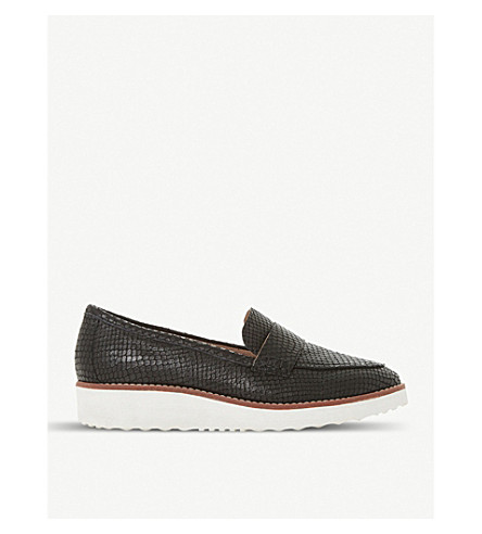 DUNE Gessie leather flatform loafers (Black-embossed+leather