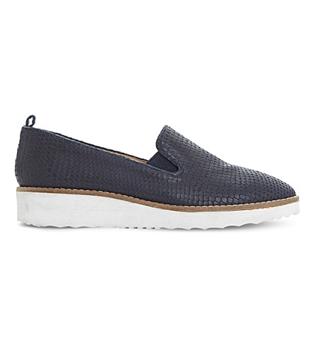 DUNE Guise leather flatform slippers (Navy-reptile