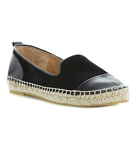 DUNE Lolled leather and suede espadrilles (Black-nubuck
