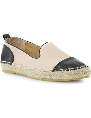 DUNE Lolled leather and suede espadrilles