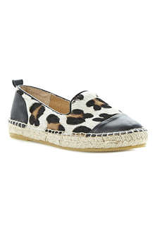 DUNE Lolled leather and pony espadrilles