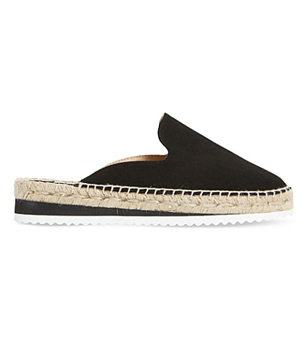DUNE Geniee suede backless espadrilles (Black-suede