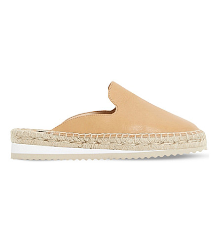 DUNE Geniee leather backless espadrilles (Tan-leather