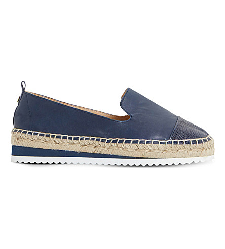 DUNE Guest contrast toe leather espadrilles (Navy-leather