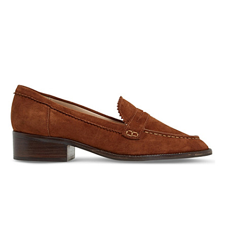 DUNE Gandy zigzag-trim suede loafers (Dark+tan-suede