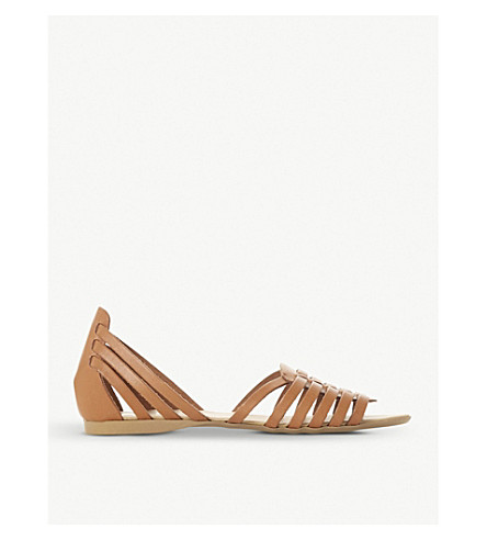 DUNE Gili leather gladiator sandals (Tan-leather