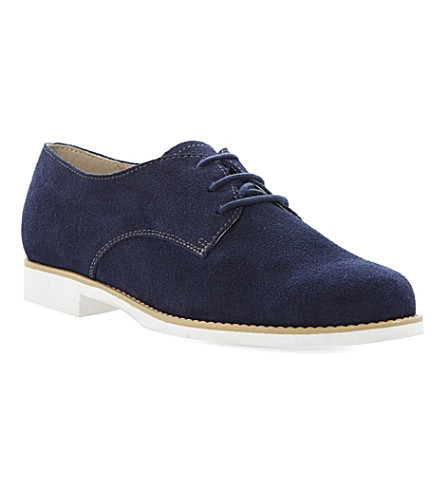 DUNE Luca lace-up suede shoes (Navy-suede