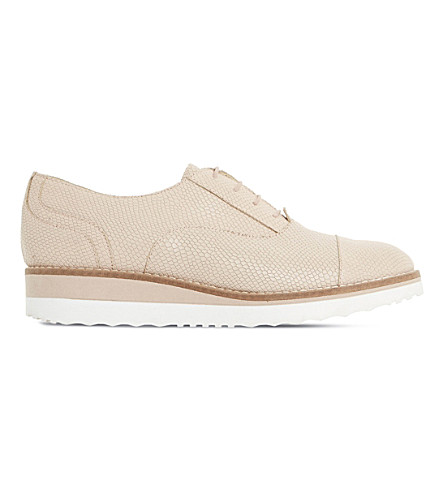 DUNE Furley reptile-effect leather flatforms (Nude-reptile