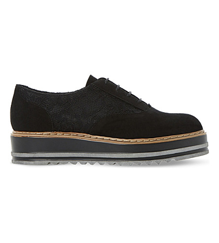 DUNE Flatform suede and lace Oxford shoes (Black-metallic