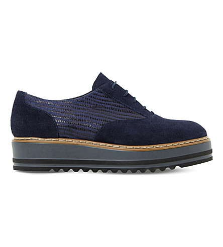 DUNE Follow suede flatform shoes (Navy-suede