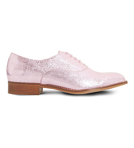 DUNE Flourish metallic leather oxfords (Pink-metallic