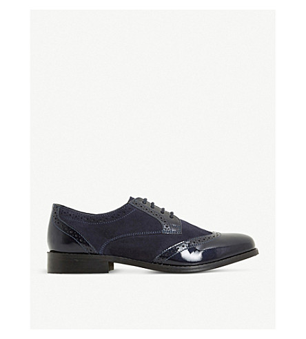 DUNE Foxxy leather and suede lace up brogues (Navy-suede