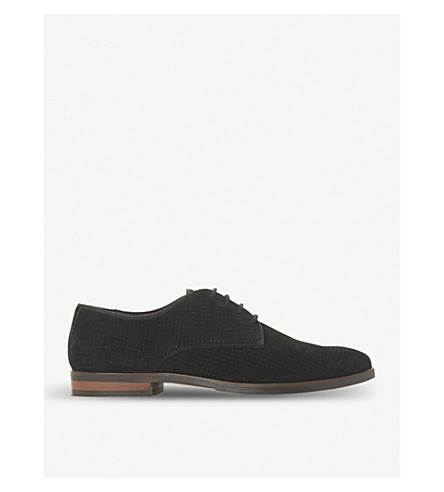 DUNE Fexton perforated suede shoes (Black-suede