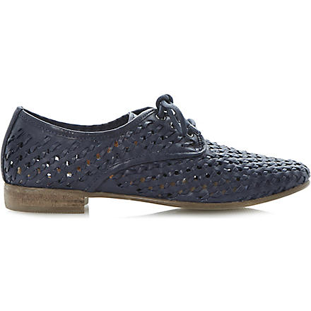 DUNE Lost woven leather lace-up shoes (Navy-leather