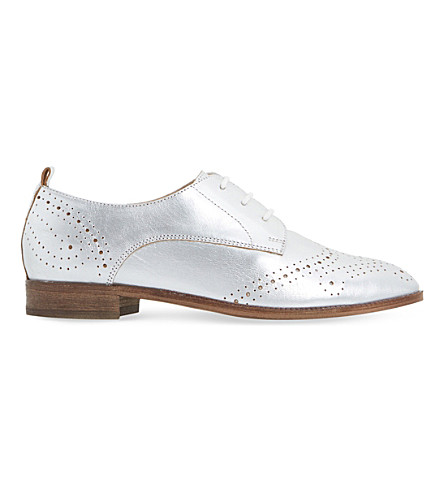 DUNE Foster metallic leather brogues (Silver-metallic