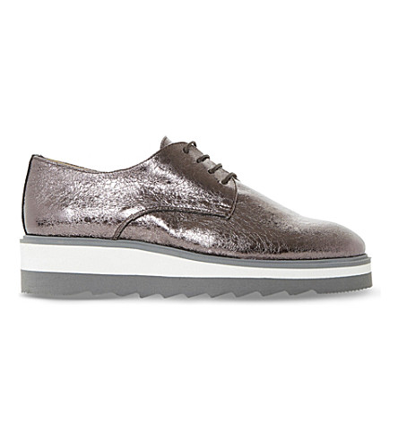 DUNE Faryl metallic flatform brogues (Pewter-metallic