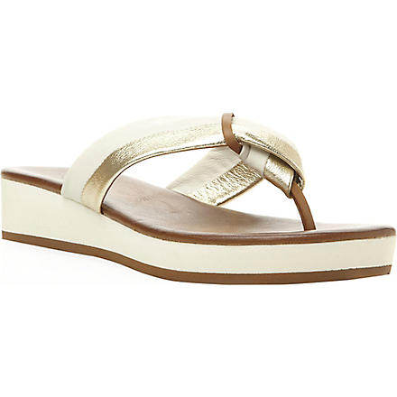 DUNE Jannys low wedge flip flop sandals (White-leather