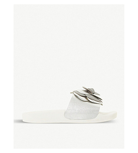 DUNE Lovely floral and metallic suede sliders (Grey-suede