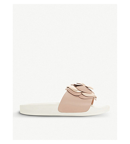 DUNE Lovely floral and metallic sliders (Pink-leather