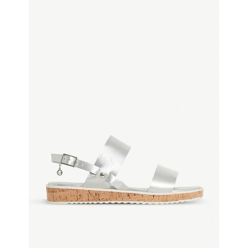 DUNE Luminere metallic faux-leather slingback sandals