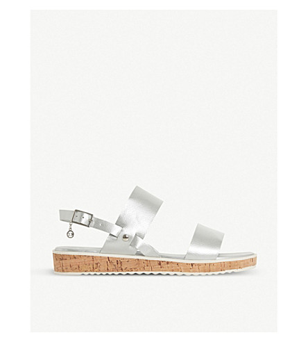 DUNE Luminere metallic faux-leather slingback sandals (Silver