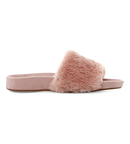 DUNE Lush faux fur slippers (Blush-faux fur