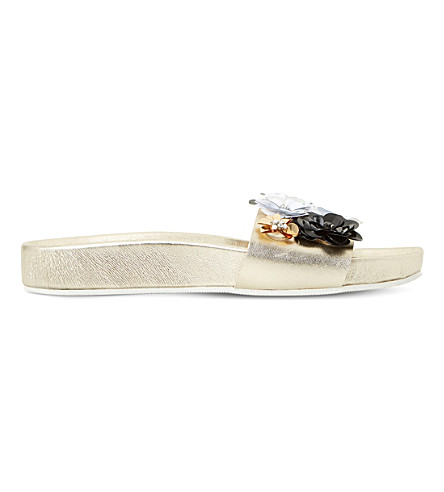 DUNE Lauralie metallic-leather slide sandals (Gold-metalic