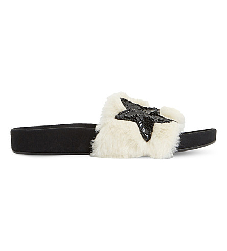DUNE Lorii faux-fur slide sandals (Natural-faux+fur