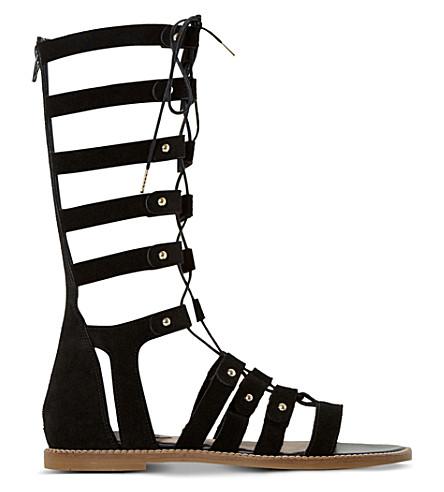 DUNE Lahlia suede high-leg gladiator sandals (Black