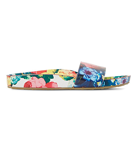 DUNE Lilley floral print slider sandals (Multi-patent