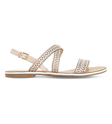 DUNE Lilo laser cut leather sandals (Pink-leather