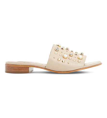 DUNE Linz pearl and stud trim mules (Nude-leather