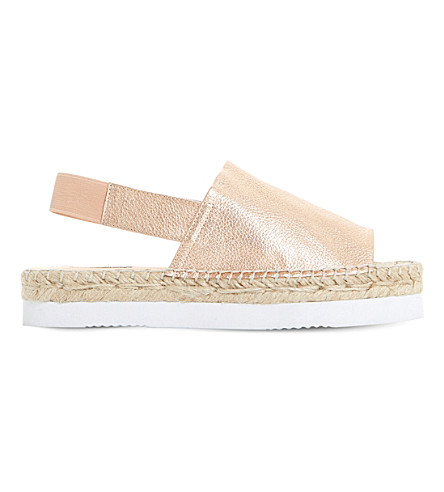 DUNE Lucindie metallic-leather espadrille sandals (Rose+gold-leather