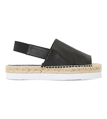 DUNE Lucindie leather espadrille sandals (Black-leather