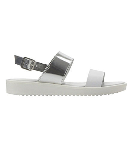 DUNE Loren two part leather EVA sole sandal (Silver-leather