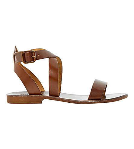 DUNE Lotti leather cross-over sandals (Tan-leather