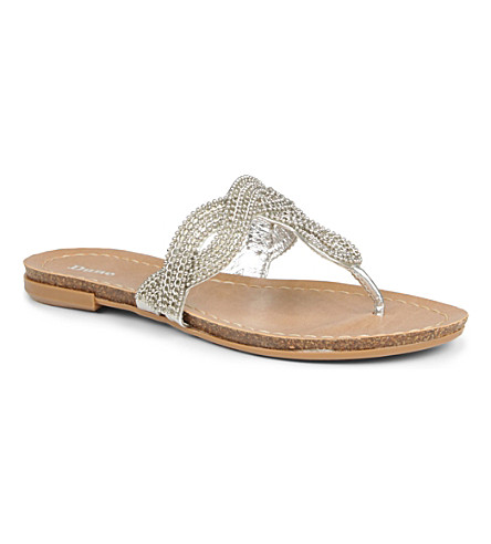 DUNE Jenna chain-embellished sandals (Silver-metallic