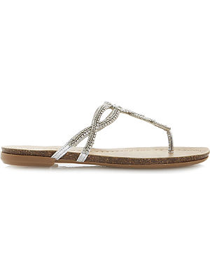 DUNE Jina diamante and chain embellished toe post sandals