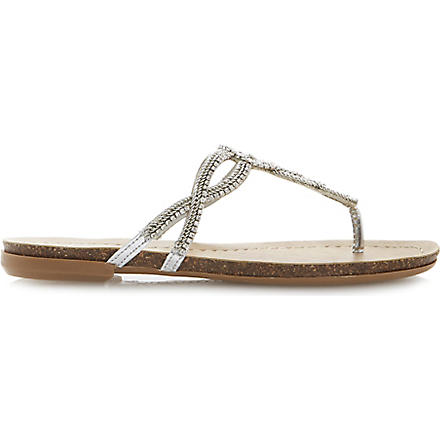 DUNE Jina diamante and chain embellished toe post sandals (Silver-synthetic
