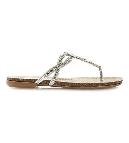 DUNE Jina embellished toe-post sandals (Silver-synthetic