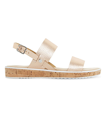 DUNE Logo leather sandals (Rose+gold-leather