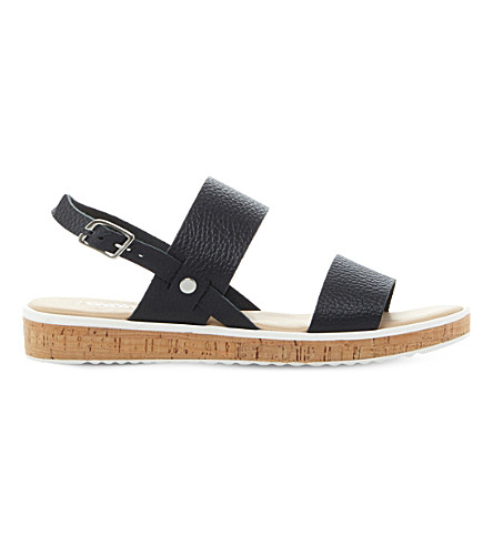 DUNE Logo leather sandals (Navy-leather