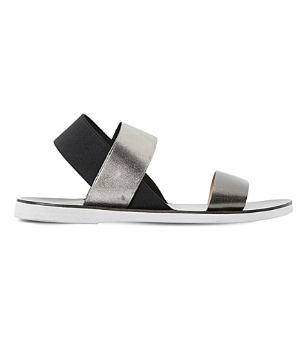DUNE Lacer - elasticated strap flat sandal (Black