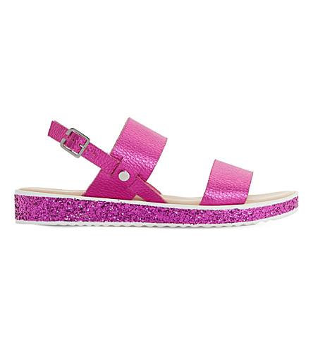 DUNE Lolitta metallic leather and glitter sandals (Pink-metallic