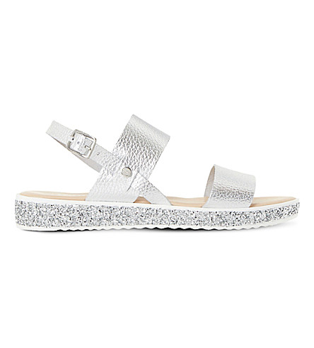 DUNE Lolitta leather and glitter flatform sandals (Silver-metallic