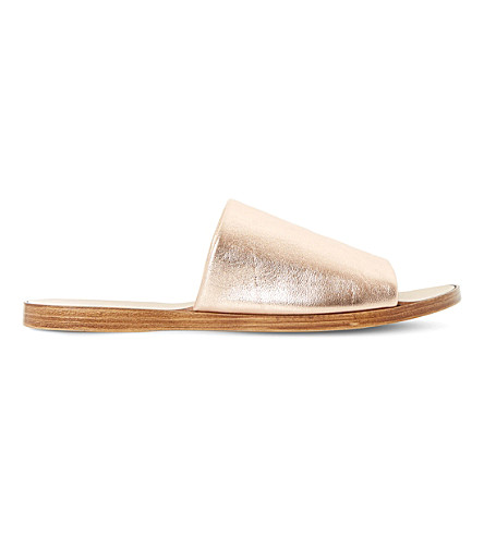 DUNE Leny metallic-leather mules (Rose+gold-leather