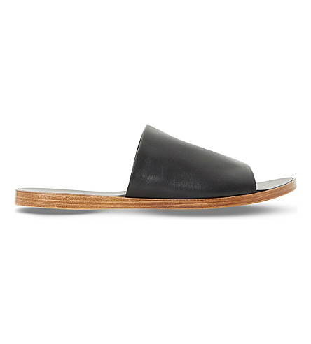 DUNE Leny leather mules (Black-leather